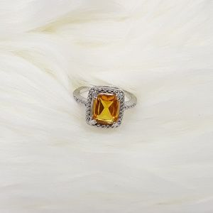 Sterling Silver Plated Yellow Topaz Ring